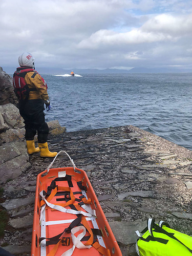 One of the two Valentia RNLI crew who went ashore to assist with the casualty | Credit: RNLI/Valentia