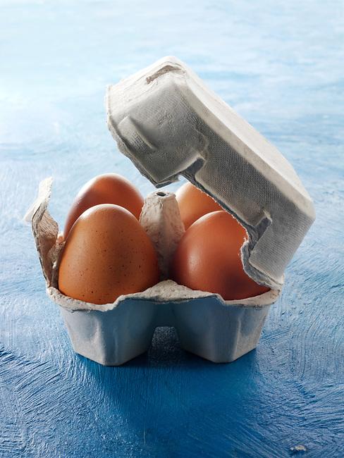 Fresh Burford Brown free range organic Eggs in egg box