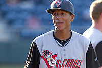 Johneshwy Fargas #1 of the Salem-Keizer Volcanoes prior to a game against the Everett AquaSox at Everett Memorial Stadium in Everett, Washington on July 14, 2014.  Salem-Keizer defeated Everett 6-4.  (Ronnie Allen/Four Seam Images)