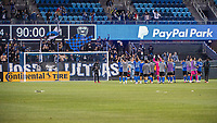 SAN JOSE, CA - MAY 01: San Jose Earthquakes players celebrate the 4-1 win after a game between San Jose Earthquakes and D.C. United at PayPal Park on May 01, 2021 in San Jose, California.