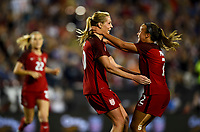 Frisco, TX - April 6, 2017: The U.S. Women's national team go up 4-0 over Russia with Allie Long contributing two goals in an international friendly match at Toyota stadium.