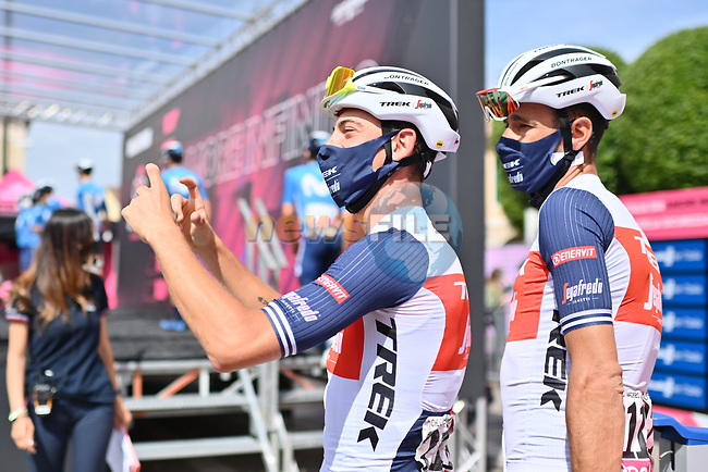 Giulio Ciccone (ITA) Trek-Segafredo at sign on before the start of Stage 14 of the 2021 Giro d'Italia, running 205km from Cittadella to Monte Zoncolan, Italy. 22nd May 2021.  <br /> Picture: LaPresse/Massimo Paolone   Cyclefile<br /> <br /> All photos usage must carry mandatory copyright credit (© Cyclefile   LaPresse/Massimo Paolone)