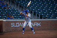 AZL Royals Jimmy Govern (8) on deck during an Arizona League game against the AZL Cubs 1 on June 30, 2019 at Sloan Park in Mesa, Arizona. AZL Royals defeated the AZL Cubs 1 9-5. (Zachary Lucy/Four Seam Images)