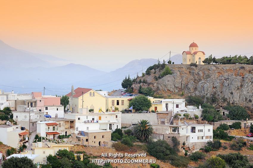 Selia in the evening. Traditional Greek village, Crete, Greece