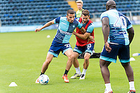 Nick Freeman of Wycombe Wanderers holds off Matthew Bloomfield of Wycombe Wanderers during the Open Training Session in front of supporters during the Wycombe Wanderers 2016/17 Team & Individual Squad Photos at Adams Park, High Wycombe, England on 1 August 2016. Photo by Jeremy Nako.