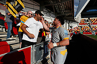 5th June 2021; Brentford Community Stadium, London, England; Gallagher Premiership Rugby, London Irish versus Wasps; Jeff Toomaga-Allen of Wasps talking to fans after full time