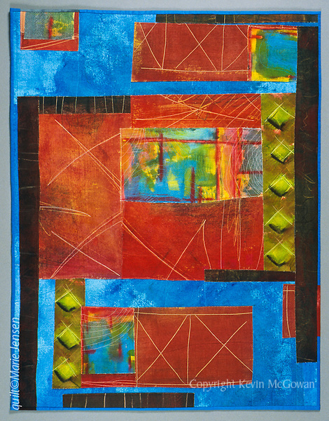 """""""Harbor""""; Contemporary quilt by artist Marie Jensen, using appliqué, a fusible web and hand painted fabrics. 29""""x38"""""""