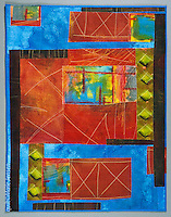 """Harbor""; Contemporary quilt by artist Marie Jensen, using appliqué, a fusible web and hand painted fabrics. 29""x38"""