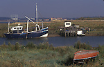 Swanscombe Peninsula North Kent Borough of Dartford UK. Broadness Creek. The Thames estuary. 1990s  Alternative life style getting away from it all. In distance new housing at Tilbury Essex.