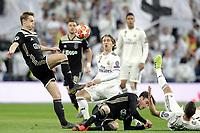 (L-R) Real Madrid's Luka Modric, Lucas Vazquez  and AFC Ajax's Matthijs de Ligt, Nicolas Tagliafico  during a UEFA Champions League match. Round of 16. Second leg. March, 5,2019. (ALTERPHOTOS/Alconada)<br /> Champions League 2018/2019<br /> Real Madrid - Ajax Ottavi di Finale <br /> Foto Alterphotos / Insidefoto