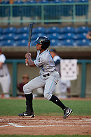 Hudson Valley Renegades Garrett Hiott (4) bats during a NY-Penn League game against the Mahoning Valley Scrappers on July 15, 2019 at Eastwood Field in Niles, Ohio.  Mahoning Valley defeated Hudson Valley 6-5.  (Mike Janes/Four Seam Images)