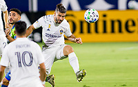 CARSON, CA - SEPTEMBER 27: Emiliano Insua #3 of the Los Angeles Galaxy with a head ball during a game between Seattle Sounders FC and Los Angeles Galaxy at Dignity Heath Sports Park on September 27, 2020 in Carson, California.