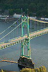 Aerial of the St. John's Bridge over the Willamette River, North Portland, Oregon