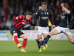 Dundee v St Johnstone....08.11.14   SPFL<br /> Michael O'Halloran's shot is blocked by Jim McAlister<br /> Picture by Graeme Hart.<br /> Copyright Perthshire Picture Agency<br /> Tel: 01738 623350  Mobile: 07990 594431