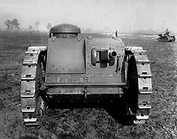 Front view of the two-man tank manufactured by the Ford Motor Co., Detroit, Mich, Ca.  1918.  Ford Motor Co.  (War Dept.)<br /> Exact Date Shot Unknown<br /> NARA FILE #:  165-WW-313A-4<br /> WAR & CONFLICT BOOK #:  577
