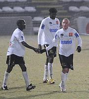 KSV Roeselare - KV Kortrijk..Joeri Dequevy gefeleciteerd na zijn goal door Mahamadou Dissa (links)..foto VDB / BART VANDENBROUCKE