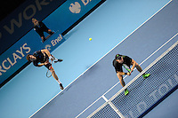 Jamie Murray (SCO) and John Peers (AUS) in action against Simone Bolelli (ITA) and Fabio Fognini (ITA) during Day One of the Barclays ATP World Tour Finals 2015 played at The O2, London on November 15th 2015