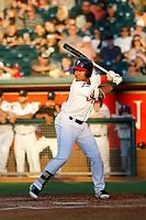Lansing Lugnuts designated hitter Bryan Lizardo (24) at bat during a game against the Dayton Dragons at Cooley Law School Stadium on August 10, 2018 in Lansing, Michigan. Lansing defeated Dayton 11-4.  (Robert Gurganus/Four Seam Images)
