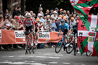 Bjorg Lambrecht (BEL/Lotto Soudal) made a very good impression during the passages on the infamous Mur de Huy. He will later finish a nice 4th place. <br /> <br /> <br /> 83th Flèche Wallonne 2019 (1.UWT)<br /> 1 Day Race: Ans – Huy 195km<br /> <br /> ©kramon
