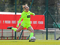 Goalkeeper Lisa Lichtfus (16) of Standard in action during a female soccer game between Standard Femina de Liege and Club Brugge YLA on the 2nd matchday in play off 1 of the 2020 - 2021 season of Belgian Scooore Womens Super League , saturday 17 th of April 2021  in Angleur , Belgium . PHOTO SPORTPIX.BE | SPP | SEVIL OKTEM