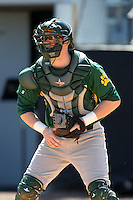 Siena Saints catcher Larry Balkwill #19 during warmups before a game against the UCF Knights at the UCF Baseball Complex on March 4, 2012 in Orlando, Florida.  Central Florida defeated Siena 15-2.  (Mike Janes/Four Seam Images)