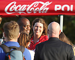 WELLINGTON, FL - FEBRUARY 19:  Scenes from the Ylvisaker Cup Final, as Gillian Johnston greets Dale Schwetz of Chukker TV after Coca Cola 9 defeats Tonkawa 8 in overtime with a Golden Goal on a Penalty 2 by Julio Arellano, in the William Ylvisaker Cup Final, at the International Polo Club, Palm Beach on February 19, 2017 in Wellington, Florida. (Photo by Liz Lamont/Eclipse Sportswire/Getty Images)