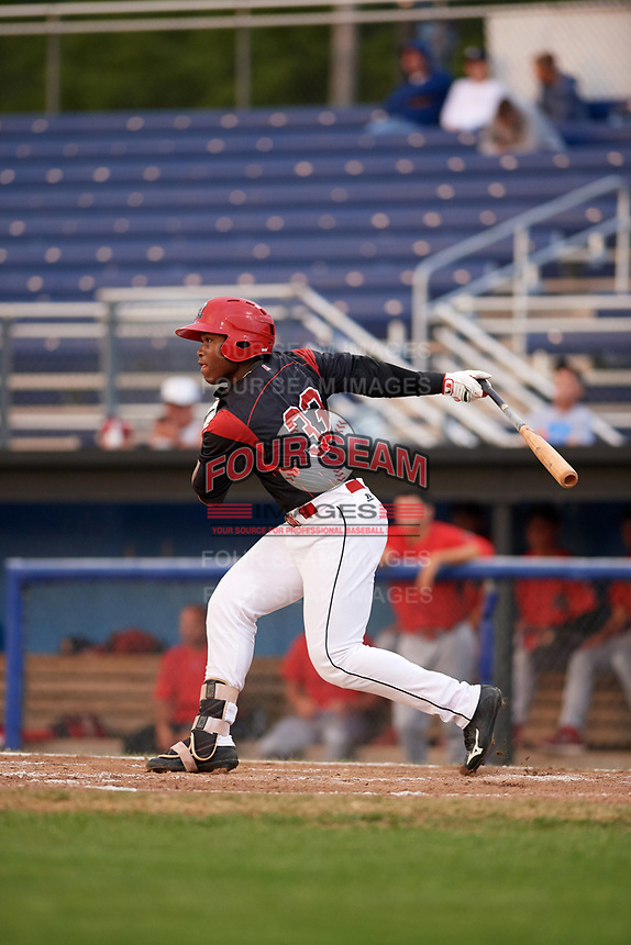 Batavia Muckdogs right fielder Terry Bennett (33) at bat during a game against the Williamsport Crosscutters on August 3, 2017 at Dwyer Stadium in Batavia, New York.  Williamsport defeated Batavia 2-1.  (Mike Janes/Four Seam Images)