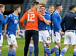 St Johnstone v Hibs…22.05.21  Scottish Cup Final Hampden Park<br />Craig Bryson and Elliott Parish celebrate at full time<br />Picture by Graeme Hart.<br />Copyright Perthshire Picture Agency<br />Tel: 01738 623350  Mobile: 07990 594431