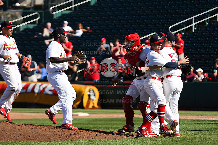 Members of the Springfield Cardinals celebrate after clinching the Texas League North Division title by winning a game against the Tulsa Drillers at Hammons Field on September 9, 2012 in Springfield, Missouri. (David Welker/Four Seam Images)
