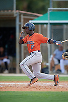 GCL Astros Dexter Jordan (12) bats during a Gulf Coast League game against the GCL Marlins on August 8, 2019 at the Roger Dean Chevrolet Stadium Complex in Jupiter, Florida.  GCL Marlins defeated GCL Astros 5-4.  (Mike Janes/Four Seam Images)