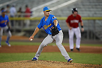 Myrtle Beach Pelicans pitcher Chad Hockin (17) during a Carolina League game against the Potomac Nationals on August 14, 2019 at Northwest Federal Field at Pfitzner Stadium in Woodbridge, Virginia.  Potomac defeated Myrtle Beach 7-0.  (Mike Janes/Four Seam Images)