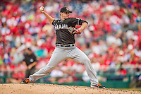 22 September 2013: Miami Marlins pitcher Tom Koehler on the mound against the Washington Nationals at Nationals Park in Washington, DC. The Marlins defeated the Nationals 4-2 in the first game of their day/night double-header. Mandatory Credit: Ed Wolfstein Photo *** RAW (NEF) Image File Available ***