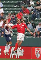 Bobby Convey, left, Morten Bisgaard, right, Denmark vs. USA, 2004.