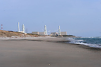 The Chubu Electric Co owned Hamaoka nuclear power station in Shizuoka Prefecture, 140 miles south of Tokyo is protected by a low sand dune from Tsunami.<br /> <br /> photo by Richard Jones/ sinopix
