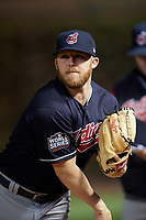 Cleveland Indians pitcher Cody Allen (37) warms up in the bullpen in the eighth inning during Game 3 of the Major League Baseball World Series against the Chicago Cubs on October 28, 2016 at Wrigley Field in Chicago, Illinois.  (Mike Janes/Four Seam Images)