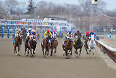 Escapefromreality, in the lime silks and blue cap, and West Hills Giant, in the yellow and red, lead the field toward the clubhouse turn in the Gotham.