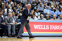 CHAPEL HILL, NC - MARCH 03: Head coach Roy Williams of the University of North Carolina encourages his team during a game between Wake Forest and North Carolina at Dean E. Smith Center on March 03, 2020 in Chapel Hill, North Carolina.