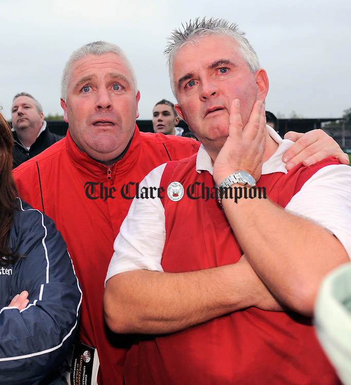 Paul Hickey, father of the victorious captain Shane Hickey and selector Gerard Mc Carthy look on with a tear in their eyes as the Jack Daly is presented. Photograph by John Kelly.