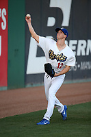 Walker Buehler (12) of the Rancho Cucamonga Quakes warms up before pitching against the Inland Empire 66ers at LoanMart Field on April 21, 2017 in Rancho Cucamonga, California. Rancho Cucamonga defeated Inland Empire 5-4. (Larry Goren/Four Seam Images)