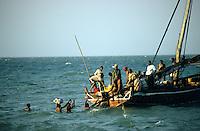 TANZANIA, Bagamoyo, boat in harbour in Bagamoyo which was the capital of former german colony east africa and the dhow harbour for the slave and ivory trade to Zanzibar / TANSANIA, Bagamoyo, Boot im Hafen in Bagamoyo, der Verwaltungshaupstadt der ehemaligen deutschen Kolonie Deutsch-Ostafrika 1887 bis 1891 , Bagamoyo war einst Dhau Hafen und Umschlagplatz fuer Elfenbein und Sklaven nach Sansibar