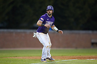 Luke Robinson (38) of the Western Carolina Catamounts takes his lead off of third base against the St. John's Red Storm at Childress Field on March 12, 2021 in Cullowhee, North Carolina. (Brian Westerholt/Four Seam Images)