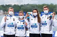 Silver Medal<br /> GERMANY<br /> BOYLea<br /> BECKLeonie<br /> MUFFELSRob<br /> WELLBROCKFlorian<br /> Team Event 5 km<br /> Open Water<br /> Budapest  - Hungary  15/5/2021<br /> Lupa Lake<br /> XXXV LEN European Aquatic Championships<br /> Photo Andrea Staccioli / Deepbluemedia / Insidefoto