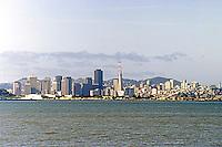 San Francisco: Downtown skyline from Berkeley Marina.  Photo '84.