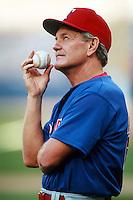 Texas Rangers Manager Johnny Oates at Anaheim Stadium in Anaheim,California during the 1996 season. (Larry Goren/Four Seam Images)