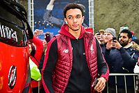 Trent Alexander-Arnold of Liverpool (66) arriving before the Premier League match between Brighton and Hove Albion and Liverpool at the American Express Community Stadium, Brighton and Hove, England on 12 January 2019. Photo by Edward Thomas / PRiME Media Images.
