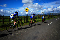 St Peter's College senior A u20 boys in action during the NZ Schools Road Cycling championship day one team time trials at Koputaroa Road near Levin, New Zealand on Saturday, 30 September 2017. Photo: Dave Lintott / lintottphoto.co.nz