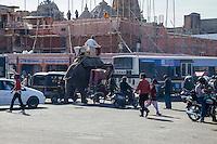 Jaipur, Rajasthan, India.  Mid-day Downtown Traffic.
