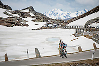 Michael Hepburn (AUS/BikeExchange) & Taco van der Hoorn (NED/Intermarché - Wanty - Gobert) up the Passo San Bernardino (2065m/SUI)<br /> <br /> 104th Giro d'Italia 2021 (2.UWT)<br /> Stage 20 (through Switzerland) from Verbania to Valle Spluga-Alpe Motta (164km)<br /> <br /> ©kramon