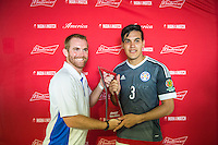 Orlando, Florida - Saturday, June 04, 2016: Paraguayan goalkeeper Gustavo Gomez (3) accepts the player of the match award after a Group A Copa America Centenario match between Costa Rica and Paraguay at Camping World Stadium.