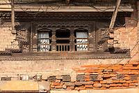 Nepal, Patan.  Brick Construction Showing Loss of Mortar and Loose Bricks.  Pre-April 2015 Earthquake.